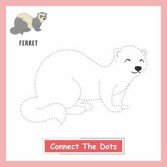 子供を描くフェレットの動物はドットイタチを接続します
