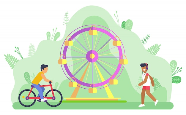 Ferris wheel amusement park and bicyclist man