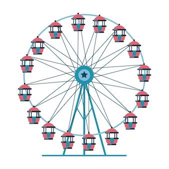 Колесо обозрения для парка развлечений плоский стиль векторные иллюстрации, изолированные на белом фоне