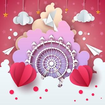 Колесо обозрения в облаке иллюстрации мультфильм.