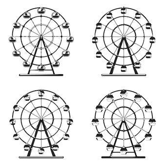 Ferris wheels in monochrome