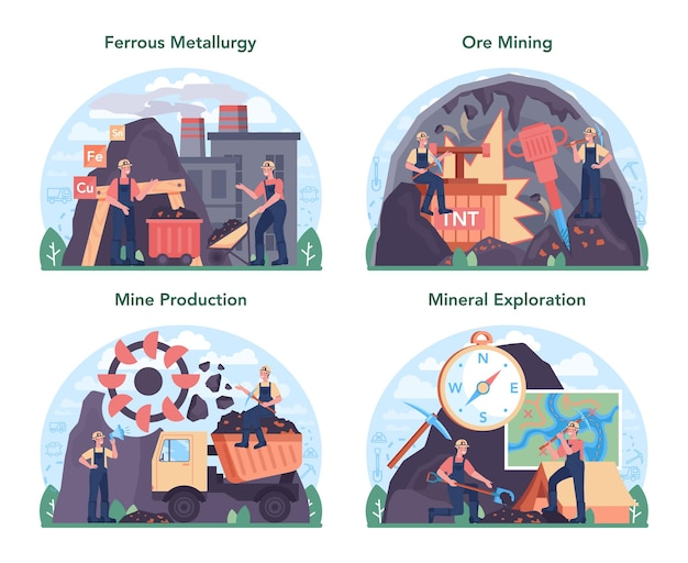 Ferrous metallurgy concept set. steel or metal extracting and production industry. industrial mining, metallurgical industry. vector flat illustration