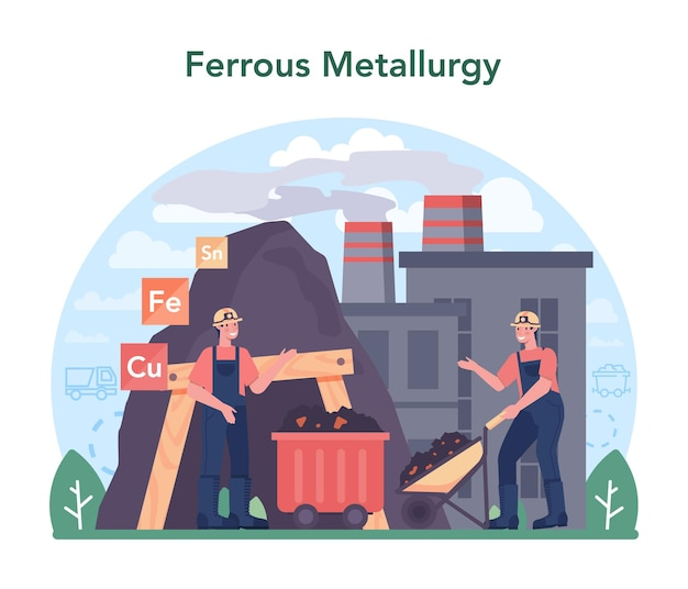 Ferrous metallurgy concept steel or metal extracting and production