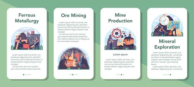 철 야금 모바일 응용 프로그램 배너 세트입니다. 철강 또는 금속 추출 및 생산 산업. 산업 광업, 야금 산업. 벡터 평면 그림