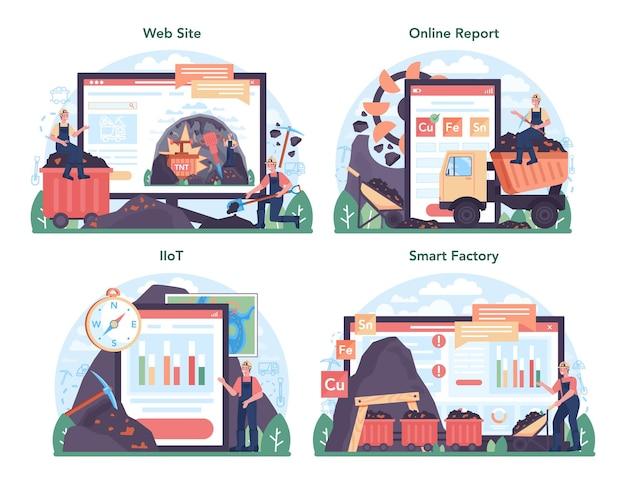 철 야금 온라인 서비스 또는 플랫폼 세트. 강철 또는 금속 추출. 산업 광업, 야금 산업. 온라인 보고서, iiot, 스마트 공장, 웹 사이트. 벡터 평면 그림