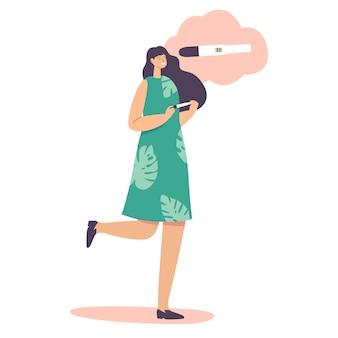 出産する、出産または母性の概念。妊娠検査陽性の幸せな女性キャラクター。 2つのストライプでスティックを保持している陽気な女性。家族計画、漫画の人々のベクトル図