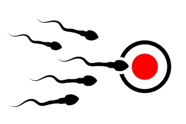 정자와 난자의 수정. 정자 세포 리더. 난자를 향해 달려가는 정자. 정자를 움직이는 배경. 벡터 일러스트 레이 션