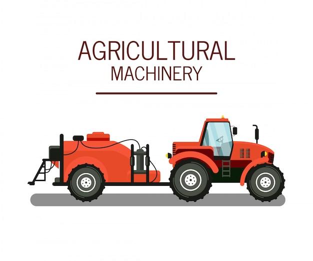 Fertilizing tractor color vector illustration