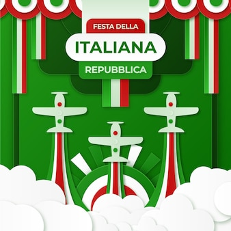 Festa della repubblica иллюстрация в бумажном стиле