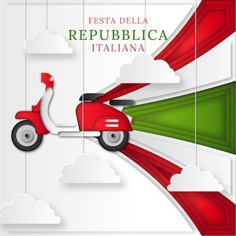 Illustrazione di festa della repubblica in stile carta