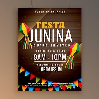 Дизайн флаера для праздничного сезона festa juinina