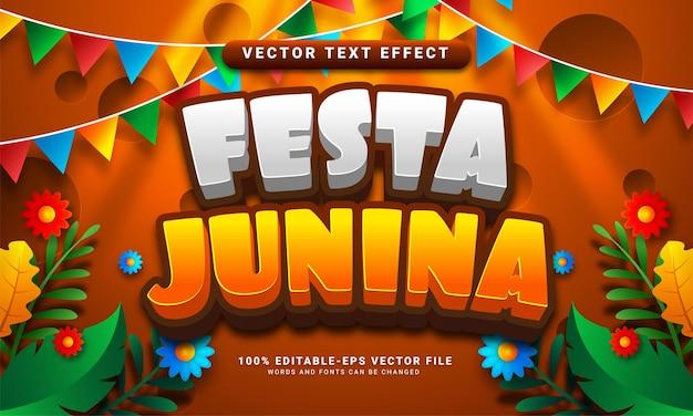 Festa junina 3d editable text effect suitable for festa junina festivals