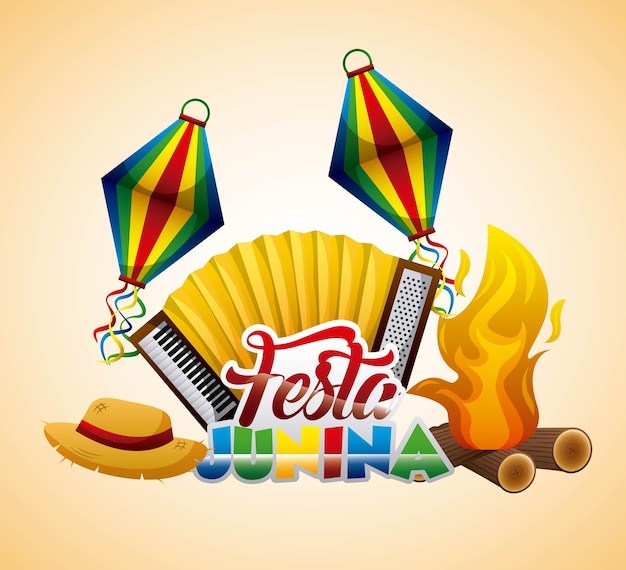 Festa junina аккордеон шляпа костер традиционный фестиваль