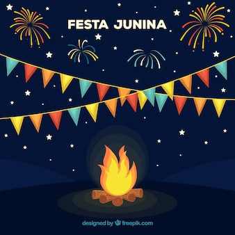 Festa junina background design with bonfire