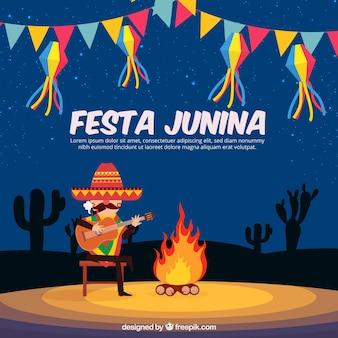 フェスタjunina背景のデザインと焚き火