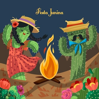 Festa junina background hand drawn