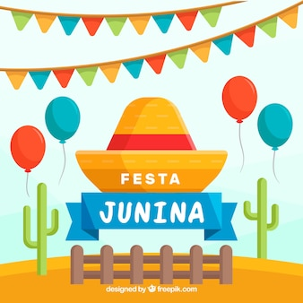 Festa junina background with balloons and cactus