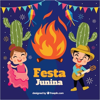 Festa junina background with bonfire and couple