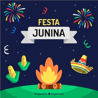 Festa junina background with campfire and traditional elements