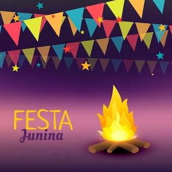 Festa junina background with campfire