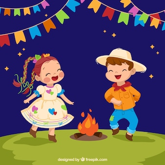 Festa junina background with children dancing around the bonfire