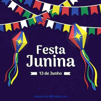 Festa junina background with colorful pennants