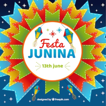 Festa junina background with colorful shapes