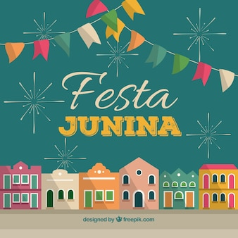 Festa junina background with colorful town
