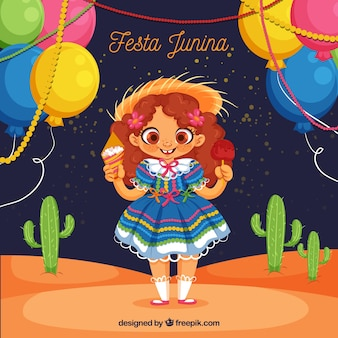 Festa junina background with cute girl