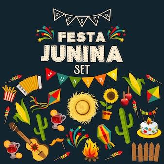 伝統的なお祝いのシンボルで構成された装飾フレームとフェスタジュニアの背景
