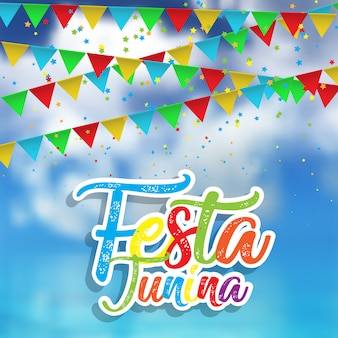 Festa junina background with defocussed sky