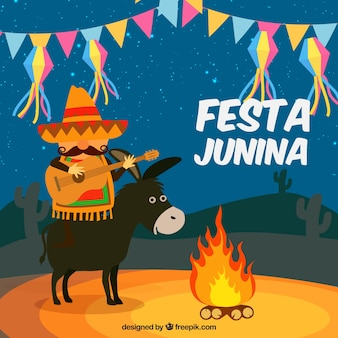 Festa junina background with donkey and man playing a guitar
