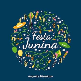 Festa junina фон с плоскими и традиционными элементами