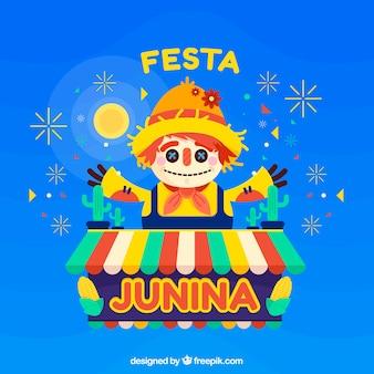 플랫 허수 아비와 축제 junina 배경