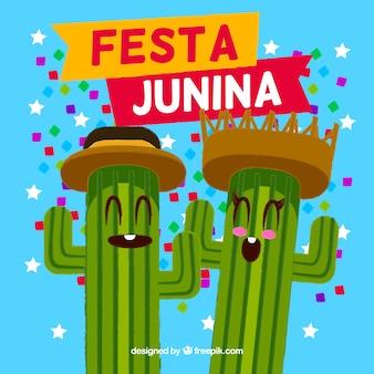 Festa junina background with happy cactus