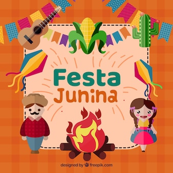 Festa junina background with happy people