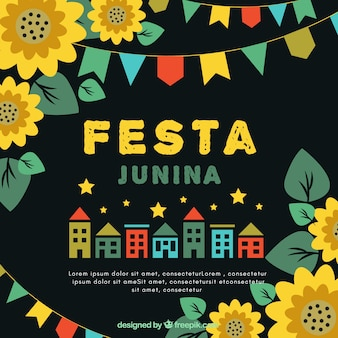 Festa junina background with houses and sunflowers
