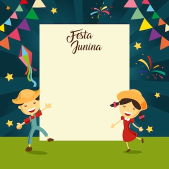 Festa junina background with kids