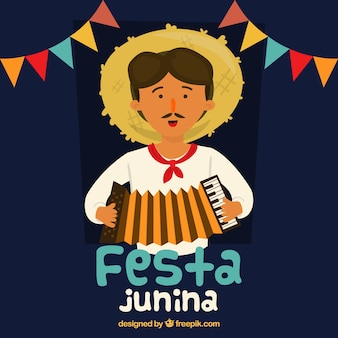 Festa junina background with man playing an accordion