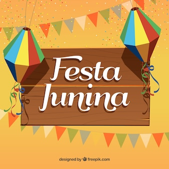 Festa junina background with party elements