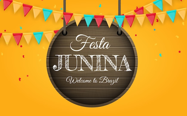 Festa junina background with party flags. brazil june festival  background for greeting card, invitation on holiday.