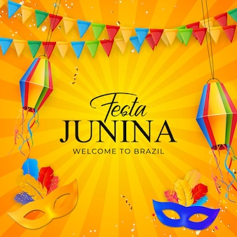Festa junina background with party flags lantern