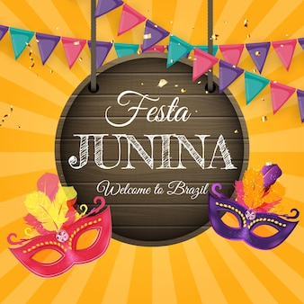 Festa junina background with party flags