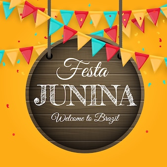 Festa junina background with party garland of flags.