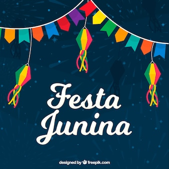 Festa junina background with pennants of different colors