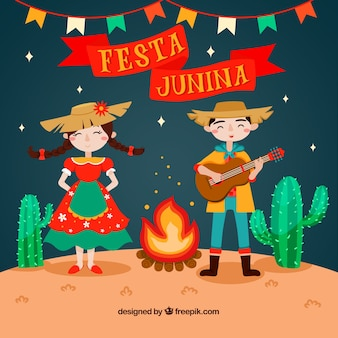 Festa junina background with people playing and singing