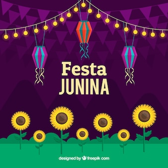 Festa junina background with sunflowers