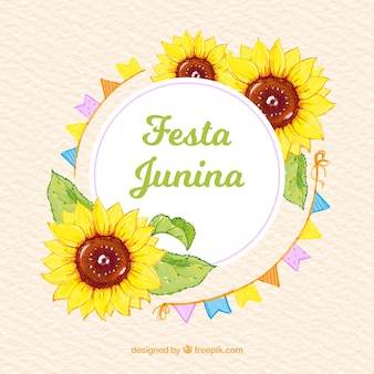 Festa junina background with sunflowers