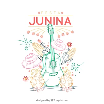 Festa junina background with traditional elements