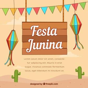 Festa junina фон с традиционными элементами